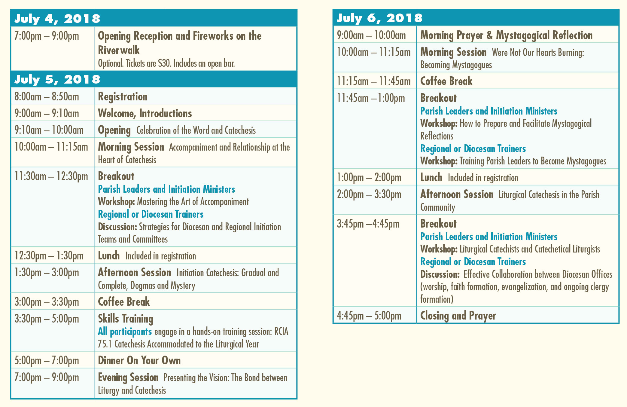 NGCI 2018 Schedule
